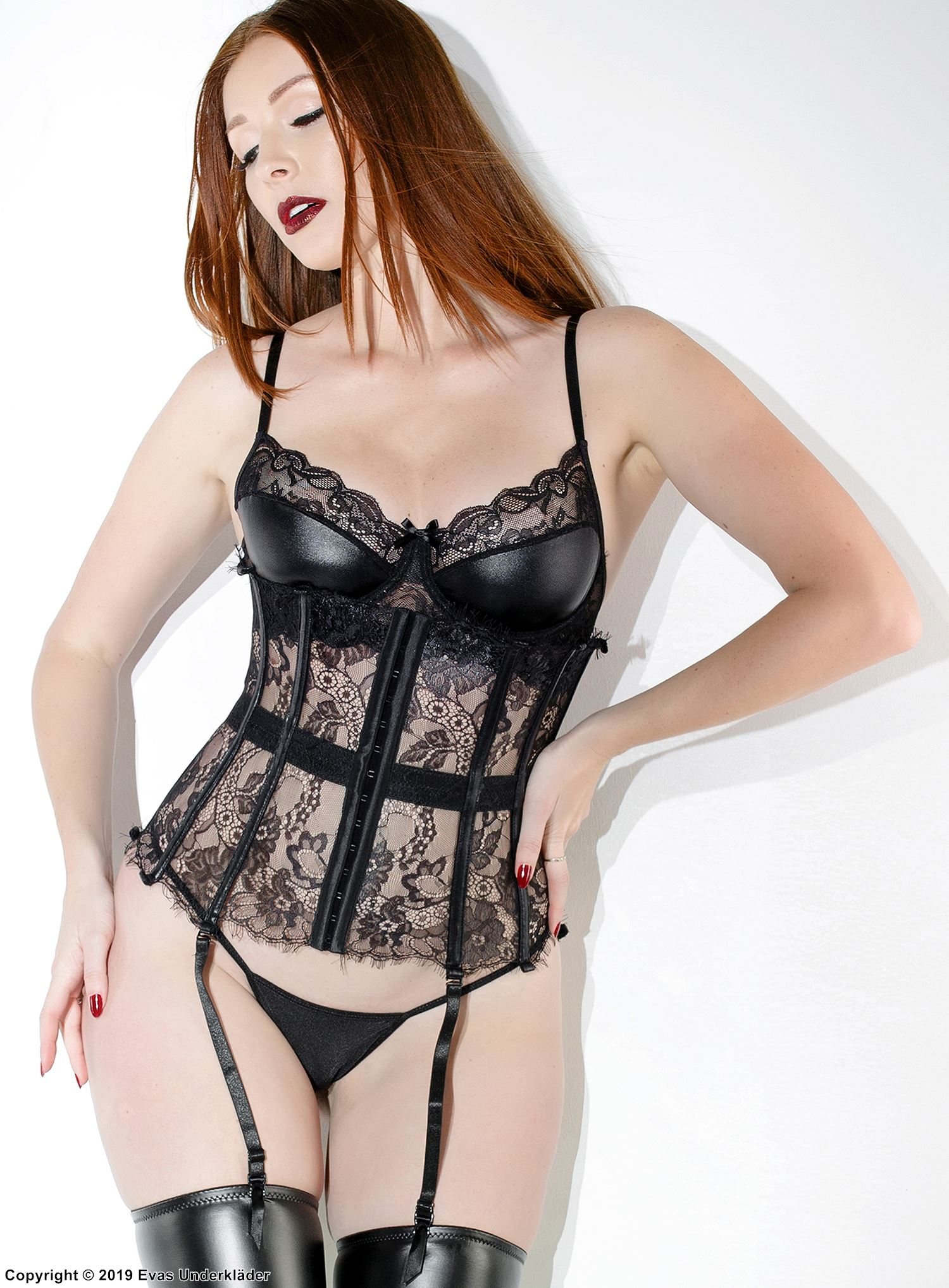 Waist cincher with lacing, lace, wet look
